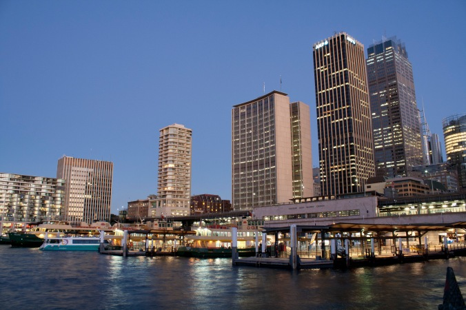 City scape - looking towards Circular Quay train station.