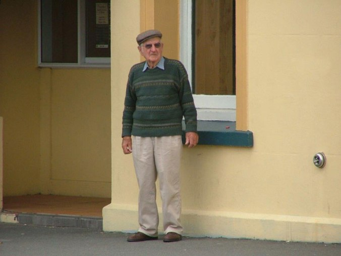 Granddad outside Cokers in 2006.
