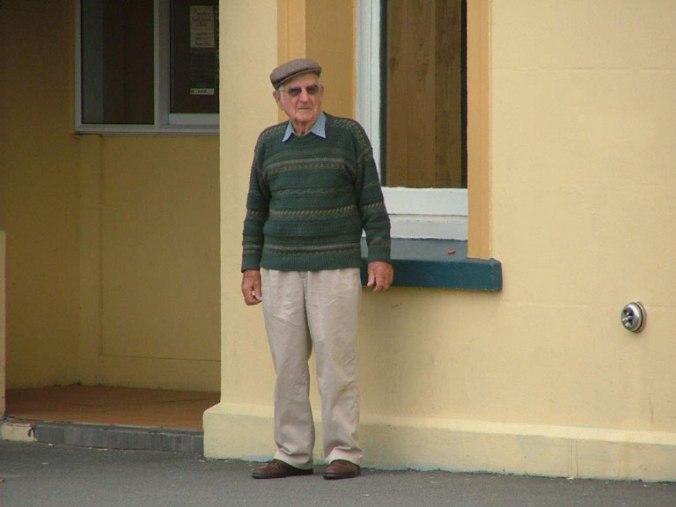 Granddad outside Cokers in 2006.